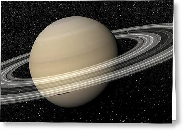 Large Scale Greeting Cards - Large Planet Saturn And Its Rings Next Greeting Card by Elena Duvernay