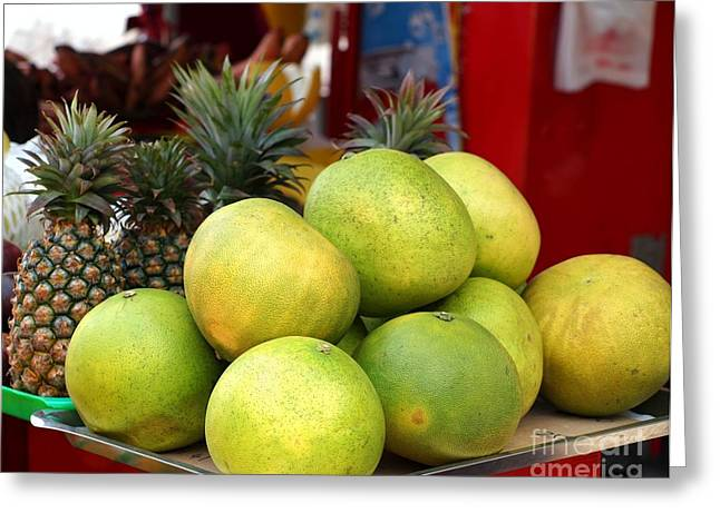 Fresh Produce Greeting Cards - Large Pomelos and Pineapples Greeting Card by Yali Shi
