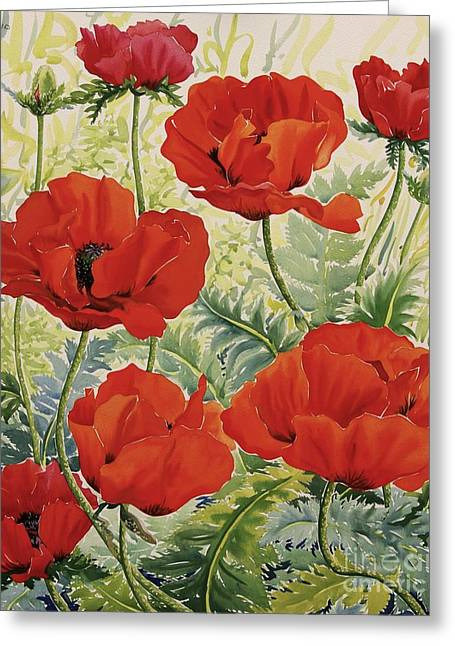 Large Red Poppies Greeting Card by Christopher Ryland