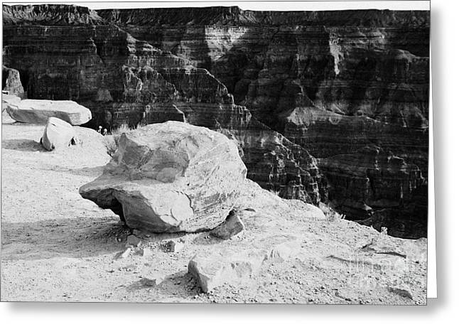 Guano Greeting Cards - large rocks on the edge of the grand canyon rim at guano point Grand Canyon west arizona usa Greeting Card by Joe Fox