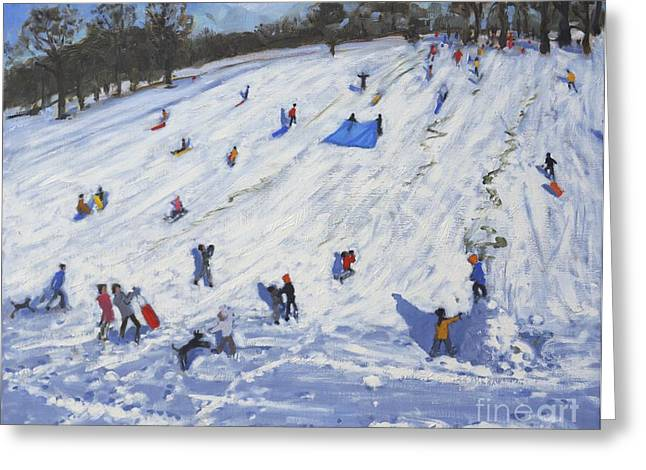 Toboggan Greeting Cards - Large snowman  Chatsworth Greeting Card by Andrew Macara