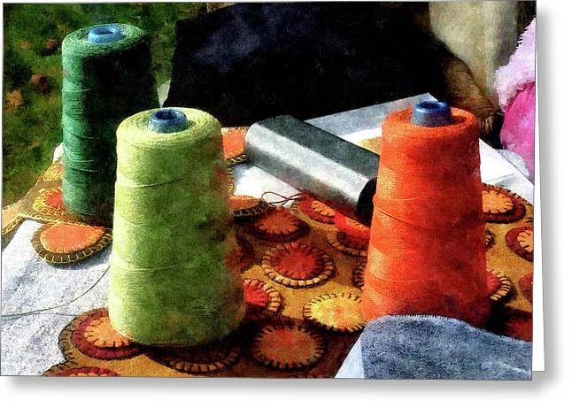 Large Spools Of Thread Greeting Card by Susan Savad