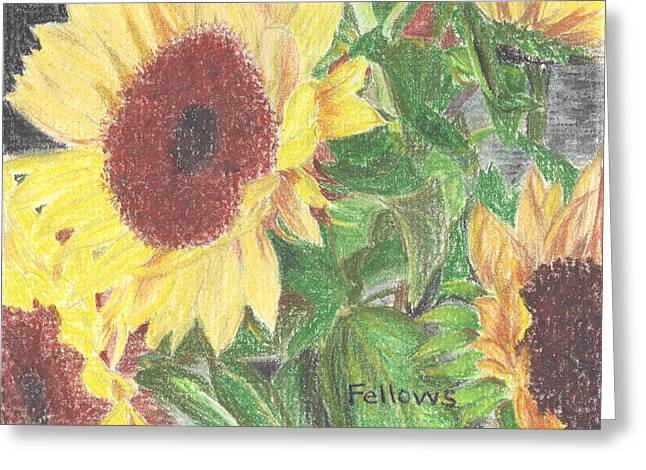 Facing Pastels Greeting Cards - Large Sunflower Greeting Card by Florence Fellows