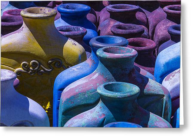Rustic Colors Greeting Cards - Large Vases Greeting Card by Garry Gay
