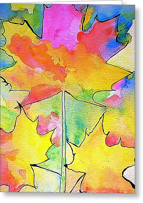 Blank Greeting Cards Mixed Media Greeting Cards - Large Vertical Maple Leaf Watercolor Painting Greeting Card by Eunice Miller