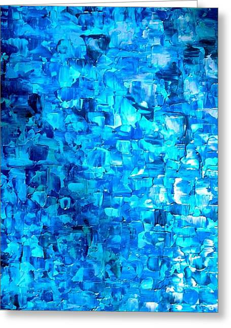 Limitless Greeting Cards - Large Wall Art Textured Painting Vertical Abstract Waterfall Greeting Card by Holly Anderson