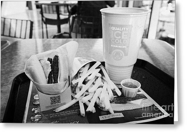 Hamburger Greeting Cards - large wendys burger meal with large drink and fries Las Vegas Nevada USA Greeting Card by Joe Fox