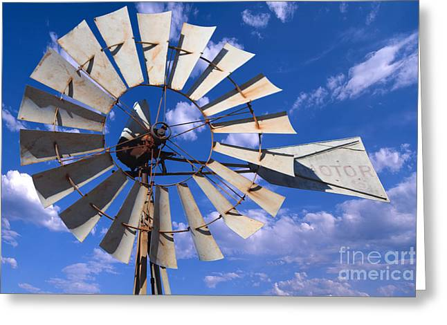 Generators Greeting Cards - Large Windmill Greeting Card by David Cutts