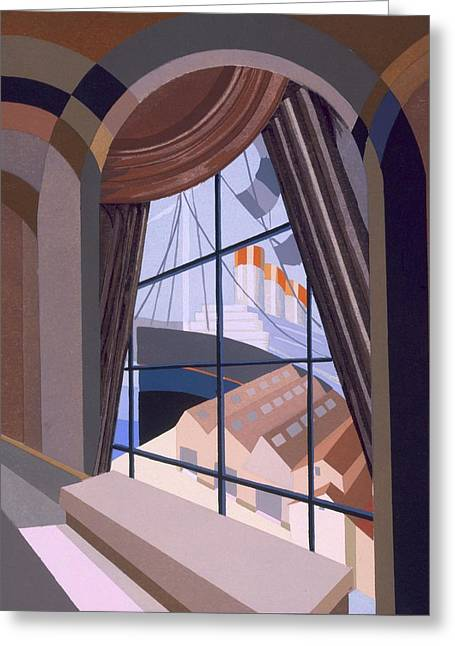 Modernist Greeting Cards - Large Window With A Seat, From Relais Greeting Card by Edouard Benedictus