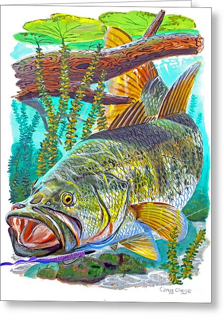 Lilly Pond Paintings Greeting Cards - Largemouth Bass Greeting Card by Carey Chen