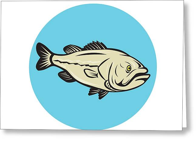 Largemouth Digital Art Greeting Cards - Largemouth Bass Fish Side Circle Cartoon Greeting Card by Aloysius Patrimonio