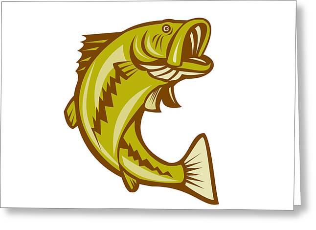Largemouth Digital Art Greeting Cards - Largemouth Bass Jumping Cartoon Greeting Card by Aloysius Patrimonio