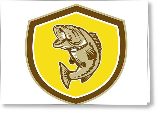 Largemouth Digital Art Greeting Cards - Largemouth Bass Jumping Shield Retro Greeting Card by Aloysius Patrimonio