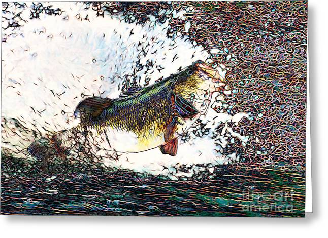 Largemouth Greeting Cards - Largemouth Bass p180 Greeting Card by Wingsdomain Art and Photography