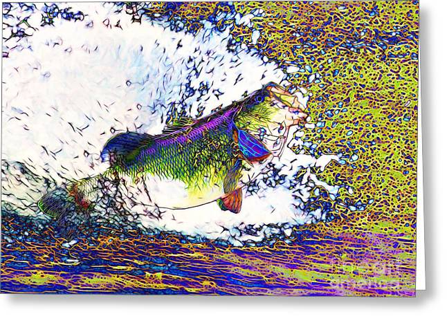 Largemouth Greeting Cards - Largemouth Bass p68 Greeting Card by Wingsdomain Art and Photography