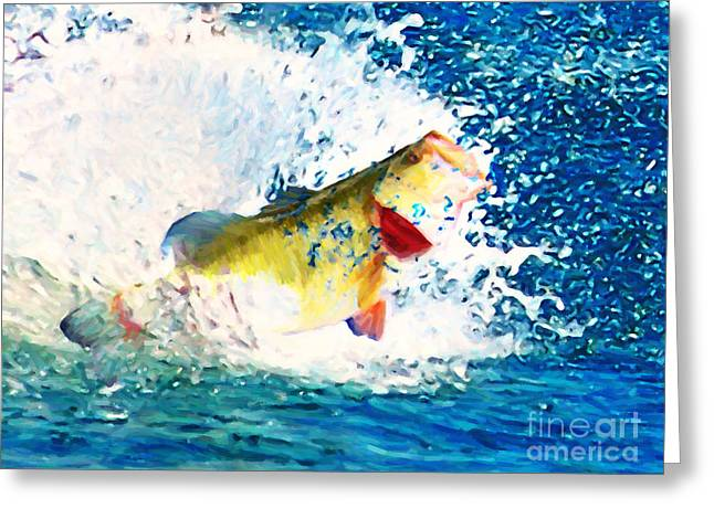Largemouth Greeting Cards - Largemouth Bass - Painterly Greeting Card by Wingsdomain Art and Photography