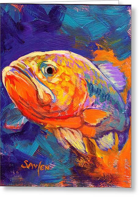 Largemouth Greeting Cards - Largemouth Bass Study Greeting Card by Mike Savlen
