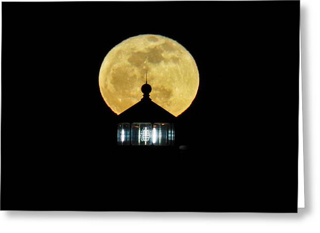 Large Moon Greeting Cards - Larger Light Looming Greeting Card by Bill Pevlor