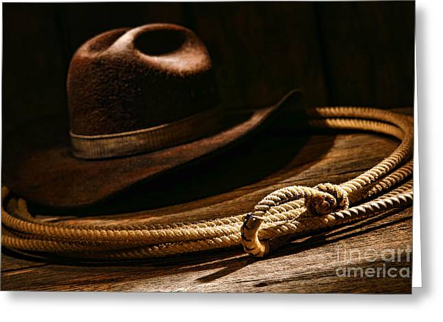 Rawhide Greeting Cards - Lariat and Hat Greeting Card by Olivier Le Queinec
