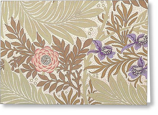 Old Tapestries - Textiles Greeting Cards - Larkspur Design Greeting Card by William Morris