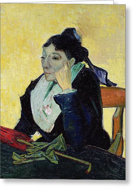 Pensive Greeting Cards - Larlesienne, 1888 Oil On Canvas Greeting Card by Vincent van Gogh