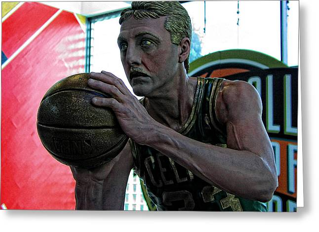 Larry Bird Greeting Cards - Larry Bird at Hall of Fame Greeting Card by Mike Martin