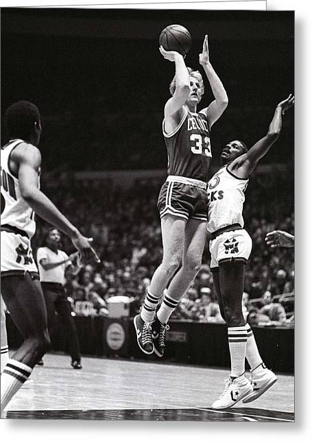 Larry Bird Greeting Cards - Larry Bird Greeting Card by Jerry Coli