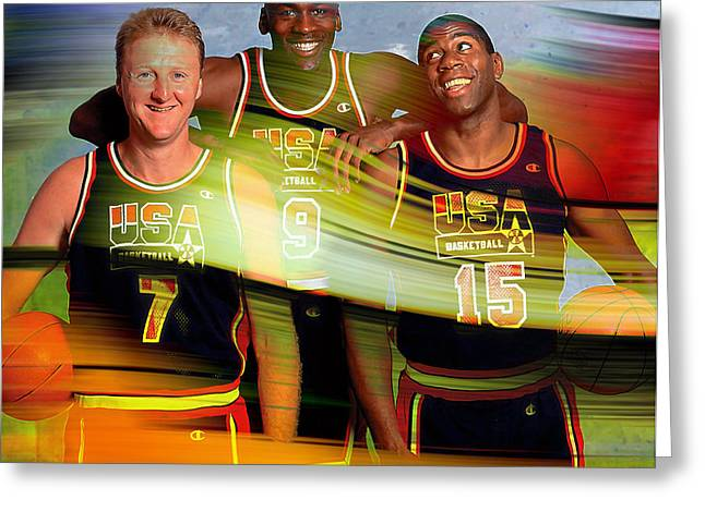 Larry Bird Greeting Cards - Larry Bird Michael Jordon and Magic Johnson Greeting Card by Marvin Blaine