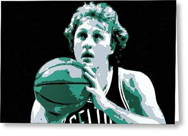 Larry Bird Greeting Cards - Larry Bird Poster Art Greeting Card by Florian Rodarte