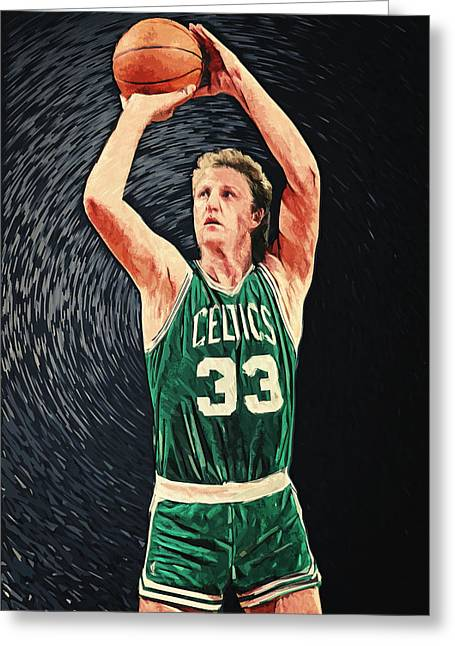 Larry Bird Greeting Cards - Larry Bird Greeting Card by Taylan Soyturk