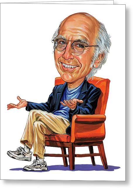 Paintings Greeting Cards - Larry David Greeting Card by Art