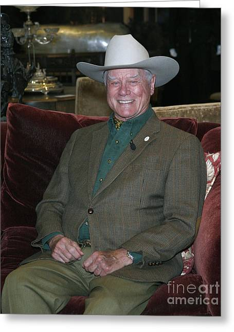 Best Sellers -  - Ewing Greeting Cards - Larry Hagman Greeting Card by Nina Prommer