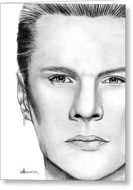 Mullen Greeting Cards - Larry Mullen Jr. Greeting Card by Kayleigh Semeniuk