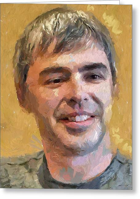 Google Digital Greeting Cards - Larry Page Portrait Greeting Card by Yury Malkov