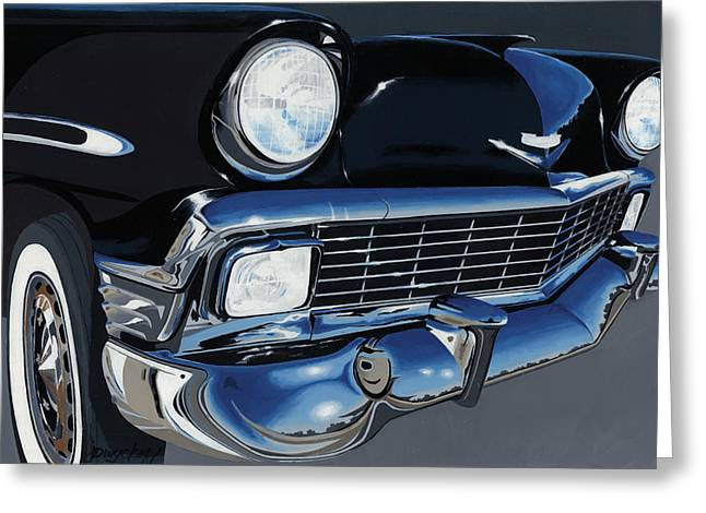 Chrome Paintings Greeting Cards - Larrys 56 Bel Aire Greeting Card by John Wyckoff