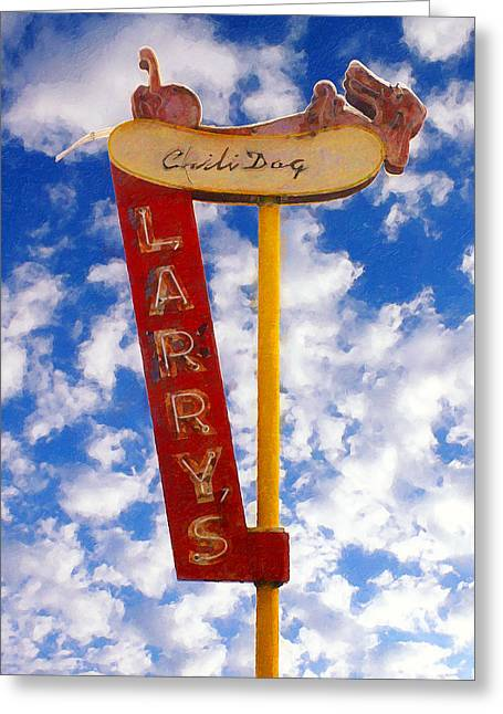 Local Food Greeting Cards - Larrys Chili Dog Greeting Card by Ron Regalado