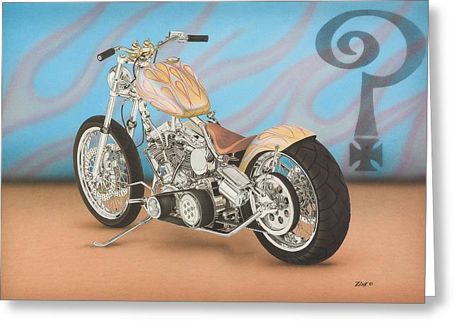 Hands On Belt Greeting Cards - Indian Larry flamed custom Greeting Card by Mark Zelenkovich