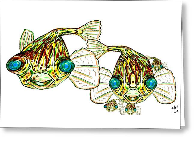 Atlantic Beaches Pyrography Greeting Cards - Lary Loretta And Mini Puffs Greeting Card by W Gilroy