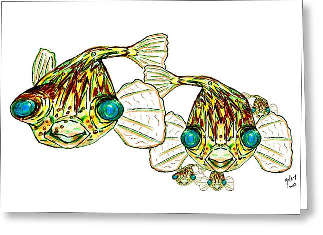 Puffer Mixed Media Greeting Cards - Puffer fish Lary Loretta and Mini Puffs Greeting Card by W Gilroy