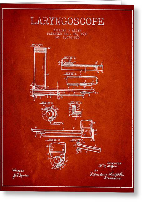 Medical Greeting Cards - Laryngoscope Patent from 1937  - Red Greeting Card by Aged Pixel