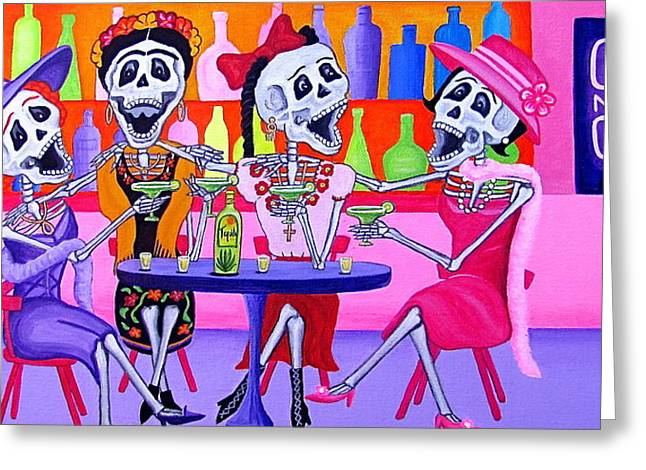 Night Out Paintings Greeting Cards - Las Borrachitas Greeting Card by Evangelina Portillo