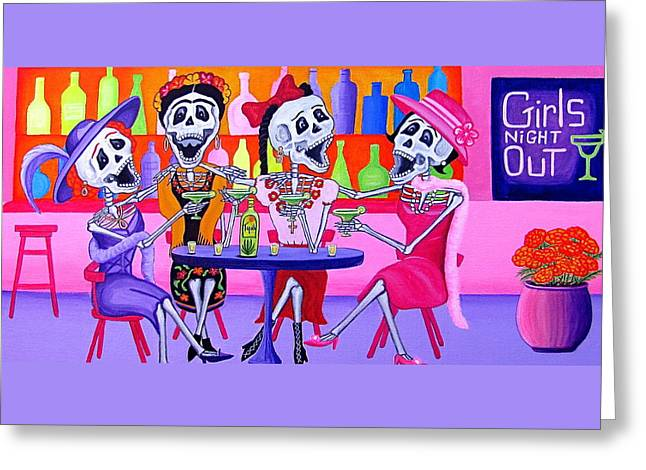 Girls Night Out Greeting Cards - Las Borrachitas Greeting Card by Evangelina Portillo