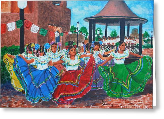 Sokolovich Paintings Greeting Cards - Las Fiestas Greeting Card by Ann Sokolovich