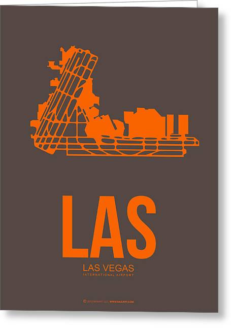 Town Mixed Media Greeting Cards - LAS Las Vegas Airport Poster 1 Greeting Card by Naxart Studio