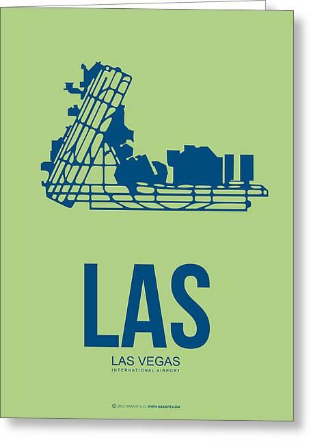 Gambling Greeting Cards - LAS Las Vegas Airport Poster 2 Greeting Card by Naxart Studio