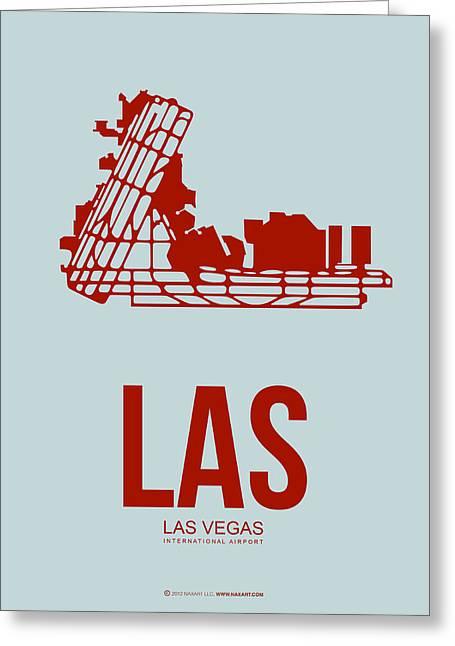 Las Vegas Mixed Media Greeting Cards - LAS Las Vegas Airport Poster 3 Greeting Card by Naxart Studio