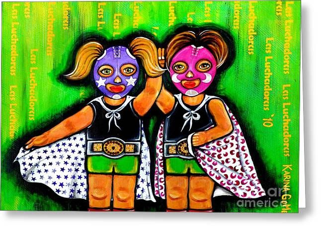 Black Boots Mixed Media Greeting Cards - Las Luchadoras - The Wrestler Girls -Art by Karina Gomez Greeting Card by Laura  Gomez