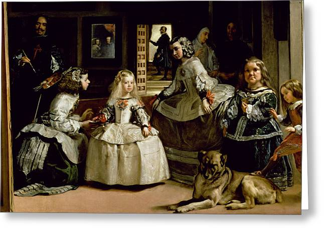 Self-portrait Greeting Cards - Las Meninas, Detail Of The Lower Half Depicting The Family Of Philip Iv 1605-65 Of Spain, 1656 Oil Greeting Card by Diego Rodriguez de Silva y Velazquez