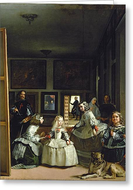 Self-portrait Greeting Cards - Las Meninas Or The Family Of Philip Iv, C.1656 Oil On Canvas Greeting Card by Diego Rodriguez de Silva y Velazquez