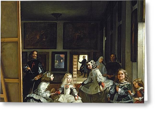 Las Meninas Or The Family Of Philip Iv, C.1656  Greeting Card by Diego Rodriguez de Silva y Velazquez
